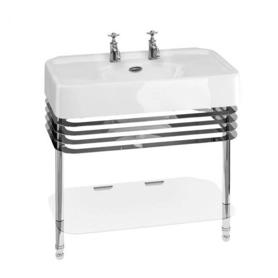 Arcade 900mm Basin with Chrome Wash Stand & Glass Shelf