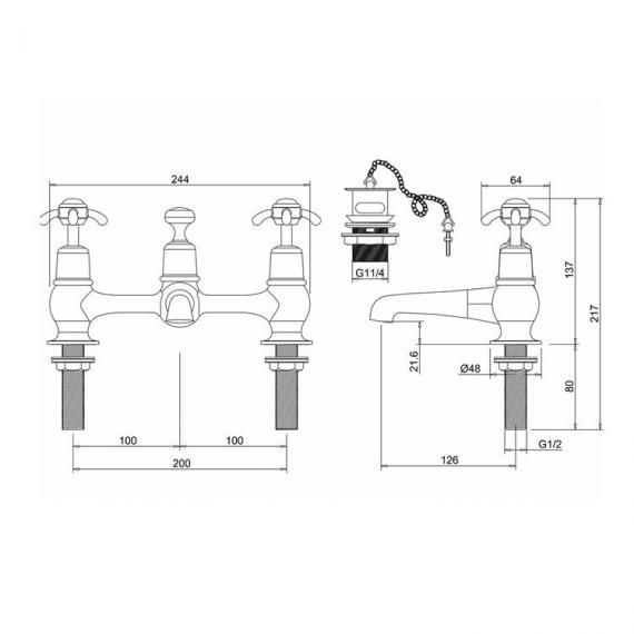 Burlington Anglesey 2 Tap Hole Bridge Mixer Specification