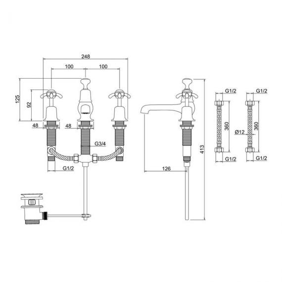 Burlington Anglesey 3 Tap Hole Basin Mixer Specification