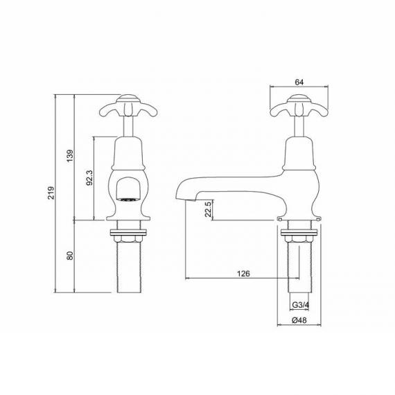 Burlington Anglesey Bath Taps Specification