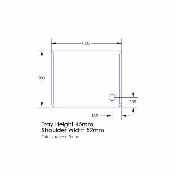Aquaglass 1000 x 900mm Rectangle Shower Tray & Waste Specification
