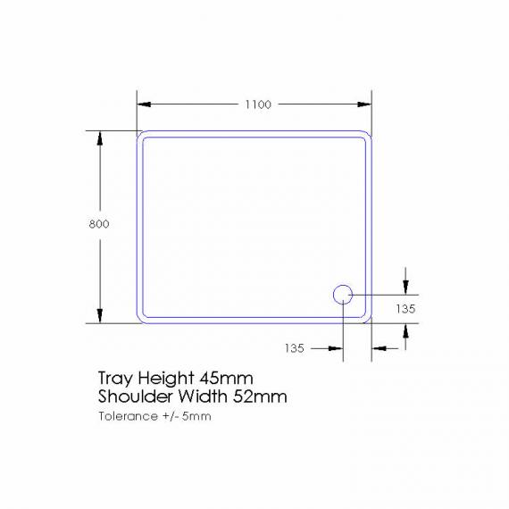 Aquaglass 1100 x 760mm Rectangle Shower Tray & Waste Specification