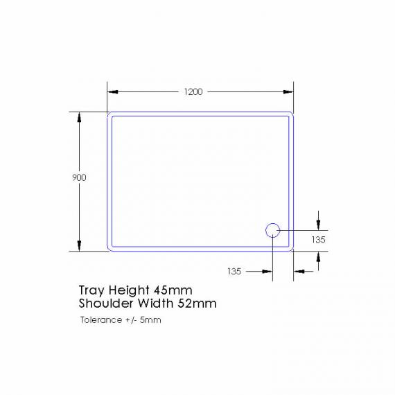 Aquaglass 1200 x 900mm Rectangle Tray  1200 x 900mm Specification