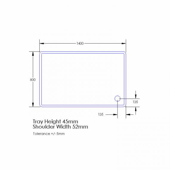 Aquaglass 1400 x 800mm Rectangle Shower Tray & Waste Specification