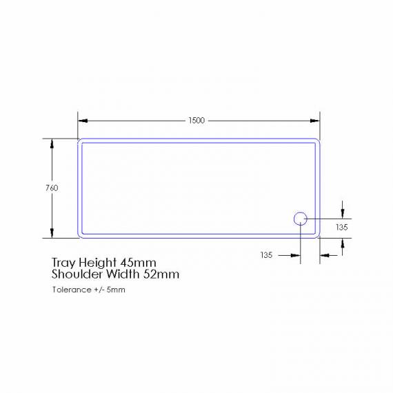 Aquaglass 1500 x 760mm Rectangle Shower Tray & Waste Specification