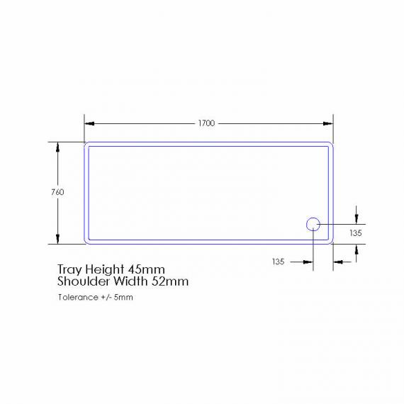 Aquaglass 1700 x 760mm Rectangle Tray Specification