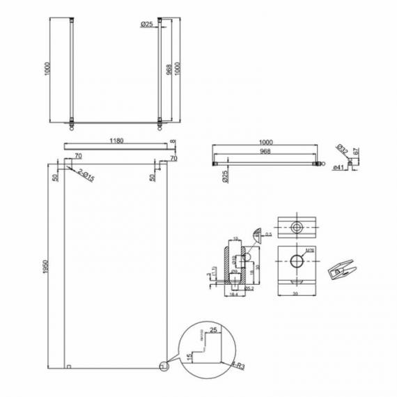 Arcade 1200mm Walk Thru Wetroom Screen - Nickel Finish Specification