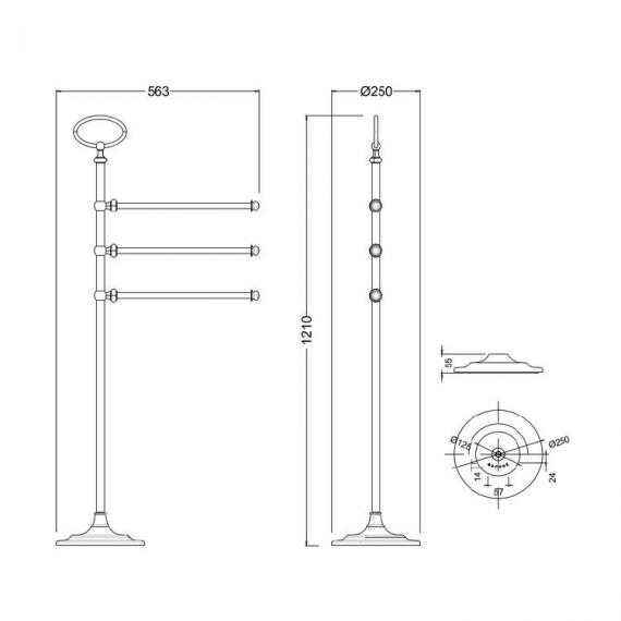 Arcade Nickel Freestanding Triple Towel Rail Stand Specification