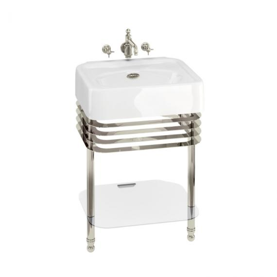 Arcade 600mm Basin with Wash Stand & Glass Shelf - 0 Tap Hole
