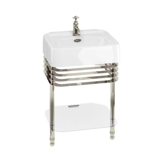 Arcade 600mm Basin with Wash Stand & Glass Shelf - 1 Tap Hole