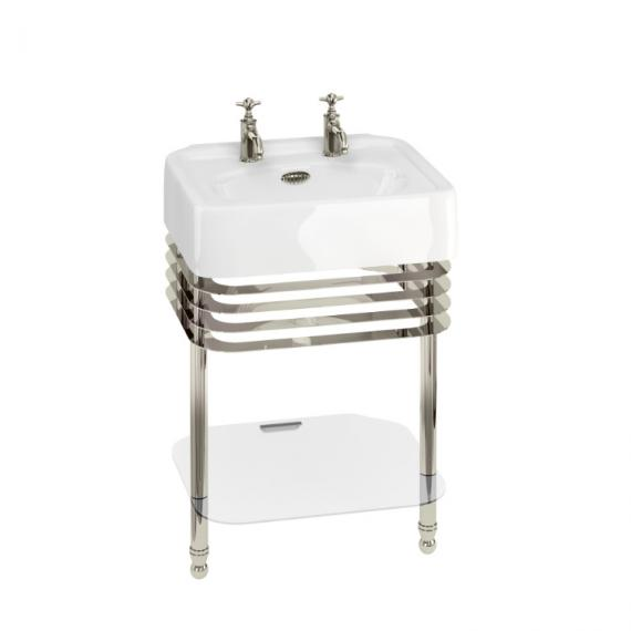 Arcade 600mm Basin with Wash Stand & Glass Shelf - 2 Tap Holes