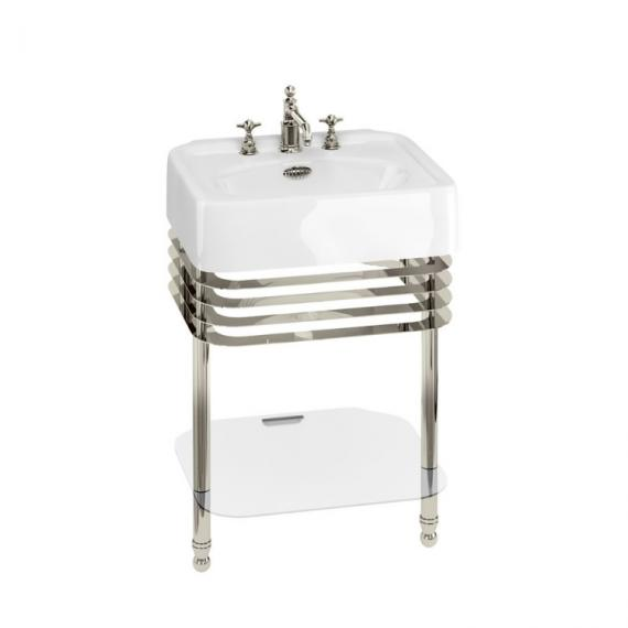 Arcade 600mm Basin with Wash Stand & Glass Shelf - 3 Tap Holes