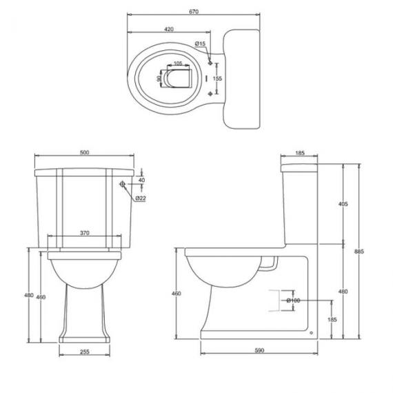 Arcade Back to Wall Close Coupled WC Specification