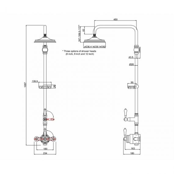 Burlington Stour Exposed Shower Valve & Shower Rose Pack Specification