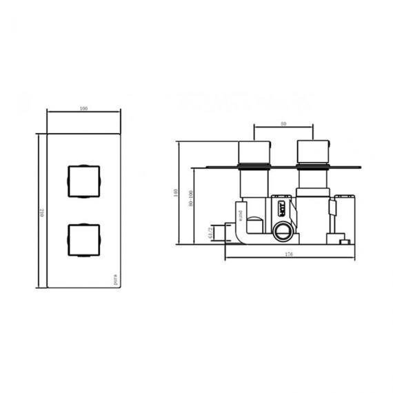 Pura Bloque2 Single Outlet Shower Valve with Fixed Shower Head - Image 2 - Dimensions