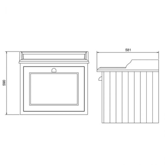 Burlington Olive 650mm Wall Hung Vanity Unit,  Worktop & Basin Specification