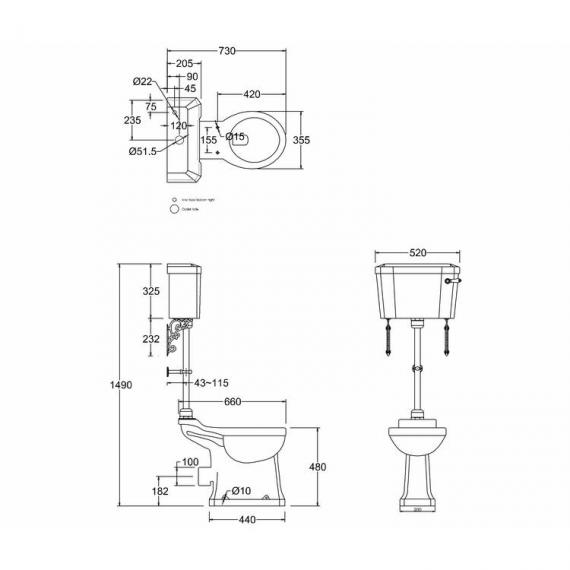 Burlington Medium Level Toilet Specification