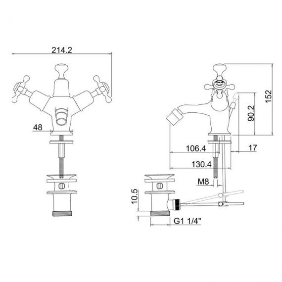 Burlington Claremont Bidet Mixer Specification