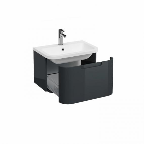 Aqua Cabinets Compact Black 600mm Wall Hung Vanity Unit & Basin