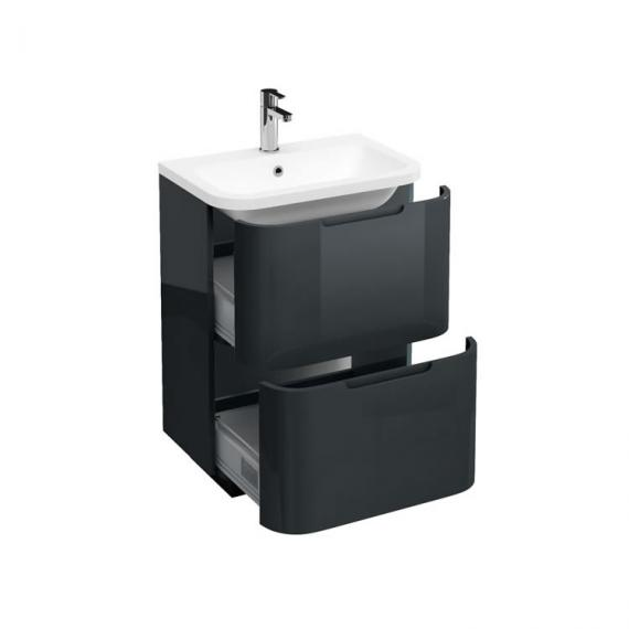 Aqua Cabinets Compact Black 600mm Two Drawer Vanity Unit & Basin