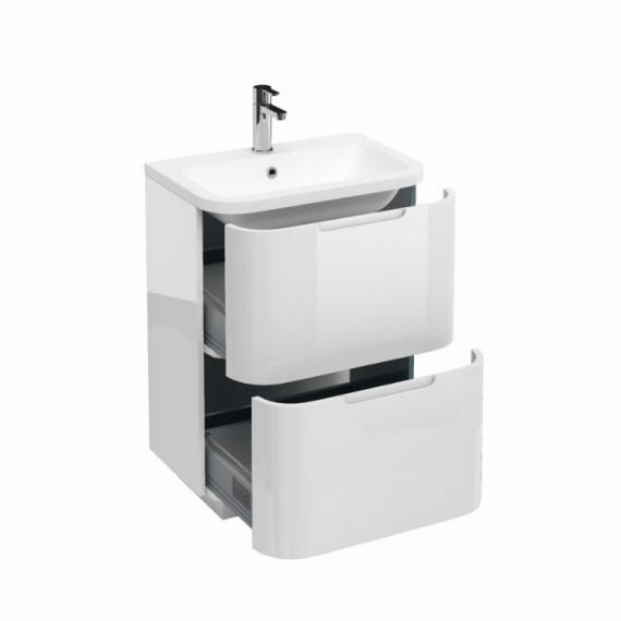 Aqua Cabinets Compact White 600mm Two Drawer Vanity Unit & Basin