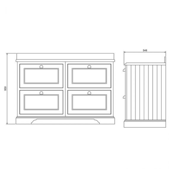 Burlington Sand 1300mm Double Vanity Unit with Drawers Specification