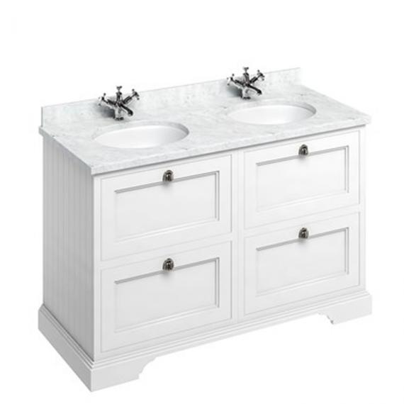 Burlington Matt White 1300mm Double Vanity Unit with Drawers, Carrara Worktop & Basin