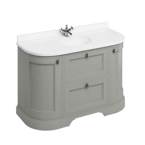 Burlington Olive 1340mm Curved Freestanding Vanity Unit With White Worktop