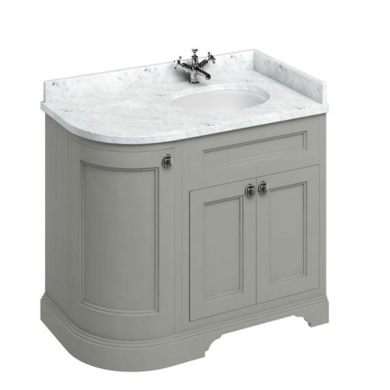 Burlington Olive 1000mm Curved Freestanding Vanity Unit, Carrara White Worktop & Right Hand Basin