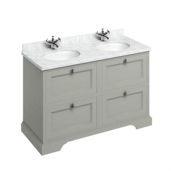 Burlington Olive 1300mm Double Vanity Unit with Drawers, Carrara White Worktop & Basin