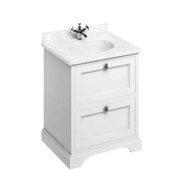 Burlington Matt White 650mm Freestanding Unit, Carrara White Minerva Worktop & Basin