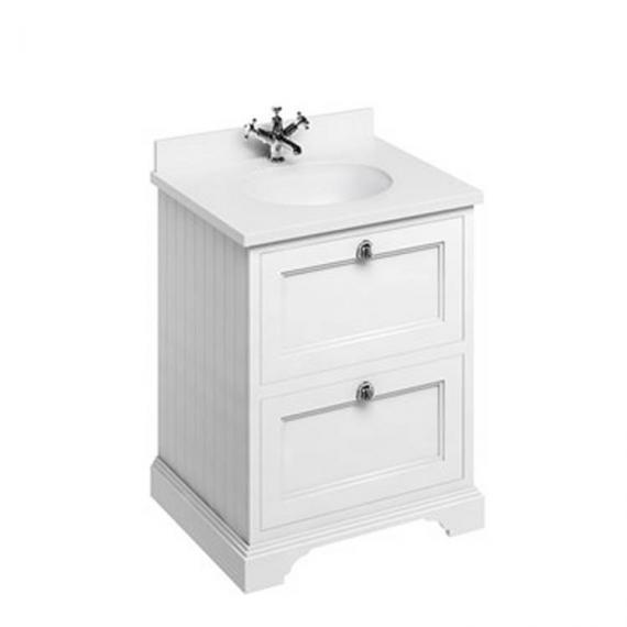 Burlington Matt White 650mm Freestanding Unit, White Minerva Worktop & Basin