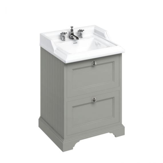 Burlington Olive 650mm Freestanding Vanity Unit with Drawers & 3 Tap Hole Basin
