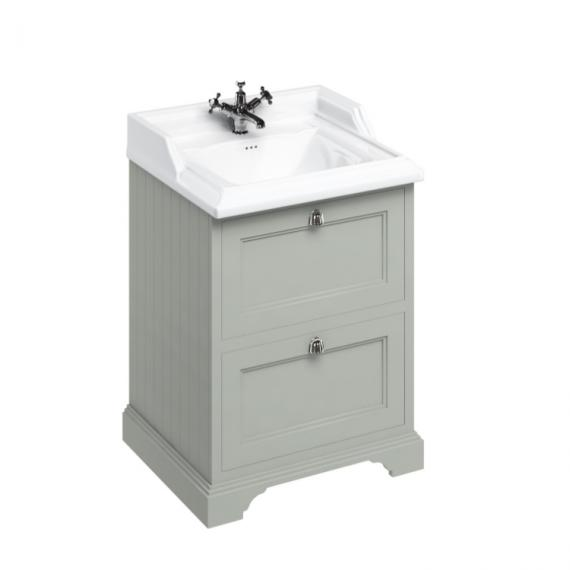 Burlington Olive 650mm Freestanding Vanity Unit with Drawers & 1 Tap Hole Basin