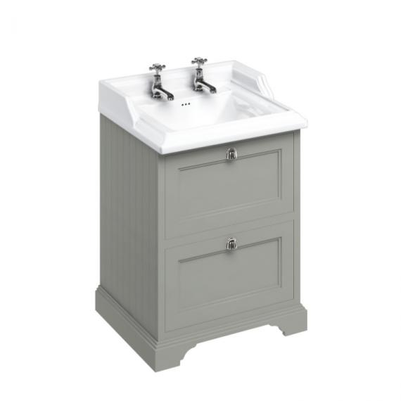 Burlington Olive 650mm Freestanding Vanity Unit with Drawers & 2 Tap Hole Basin