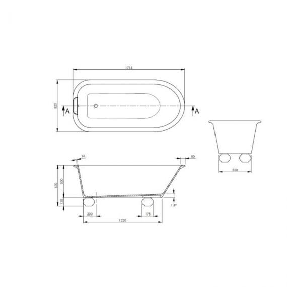 BC Designs Fitzroy 1715mm Freestanding Bath with Feet