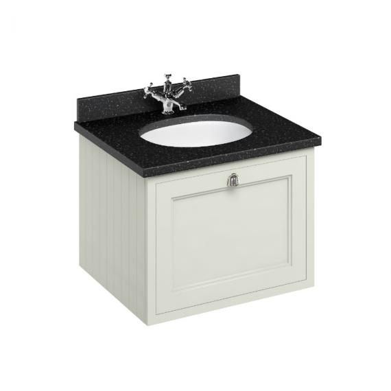 Burlington Sand 650mm Wall Hung Vanity Unit, Minerva Granite Worktop & Basin
