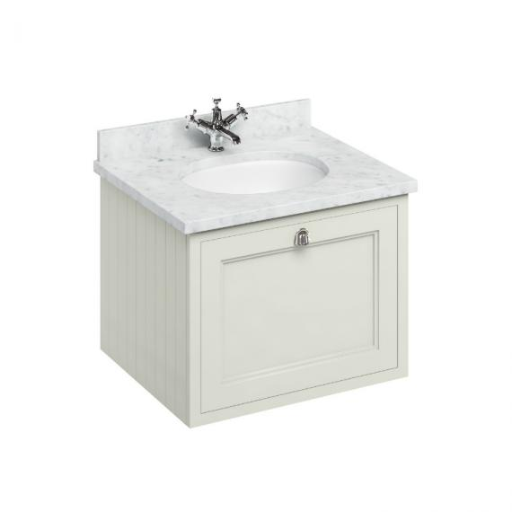 Burlington Sand 650mm Wall Hung Vanity Unit, Carrara White Worktop & Basin