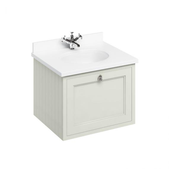 Burlington Sand 650mm Wall Hung Vanity Unit, Minerva White Worktop & Basin