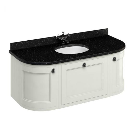 Burlington Sand 1340mm Curved Freestanding Vanity Unit with Door & Drawers, Black Granite Worktop & Basin