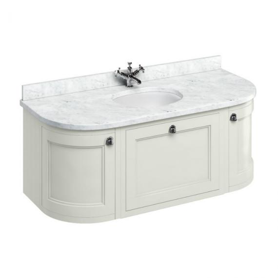 Burlington Sand 1340mm Curved Freestanding Vanity Unit with Door & Drawers, White Carrara Worktop & Basin