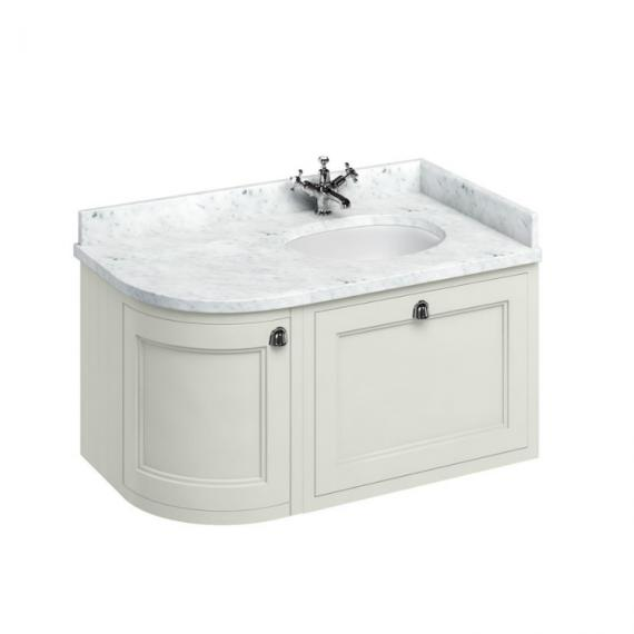 Burlington Sand 1000mm Curved Wall Hung Vanity Unit, Carrara White Worktop & Basin