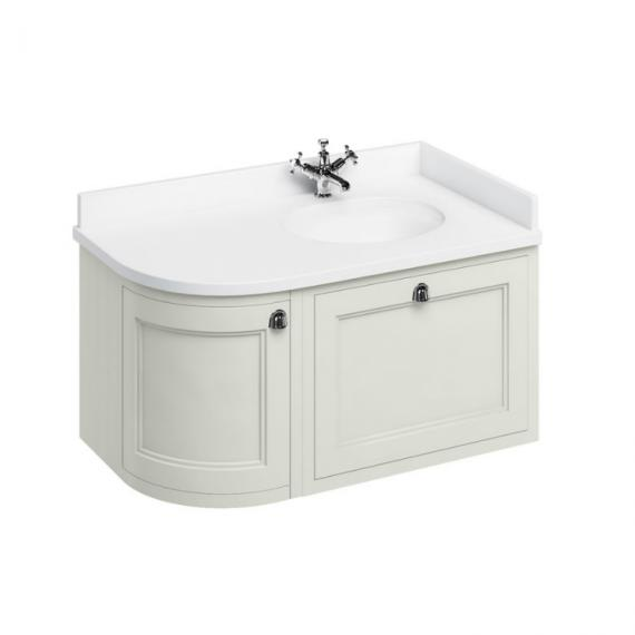 Burlington Sand 1000mm Curved Wall Hung Vanity Unit, Worktop & Basin