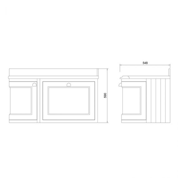 Burlington Sand 1000mm Curved Wall Hung Vanity Unit Spec