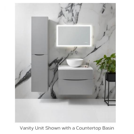 Bauhaus Glide II White Gloss 50 Unit and Carrara Marble Worktop Detail with a Basin