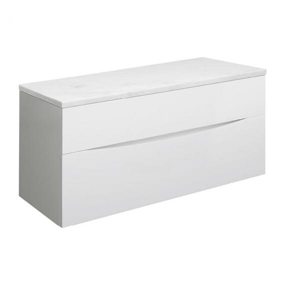 Bauhaus Glide II White Gloss 100 Unit and Carrara Marble Worktop