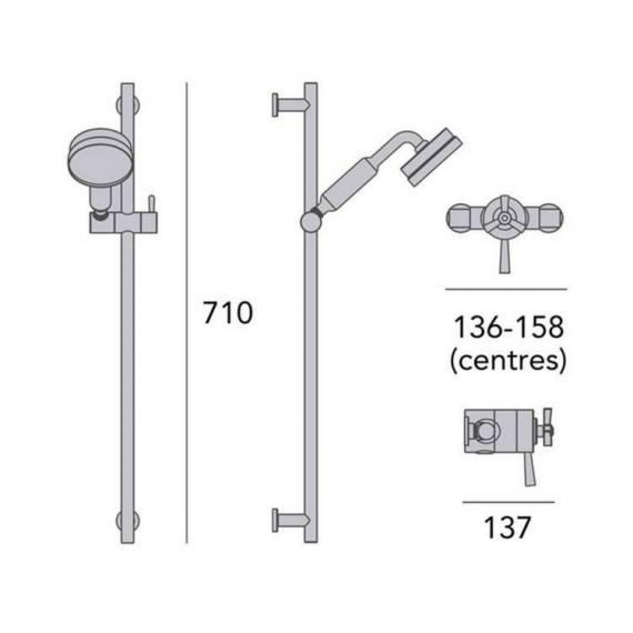 Heritage Gracechurch Exposed Shower with Deluxe Flexible Riser Kit Chrome Finish Dimensions