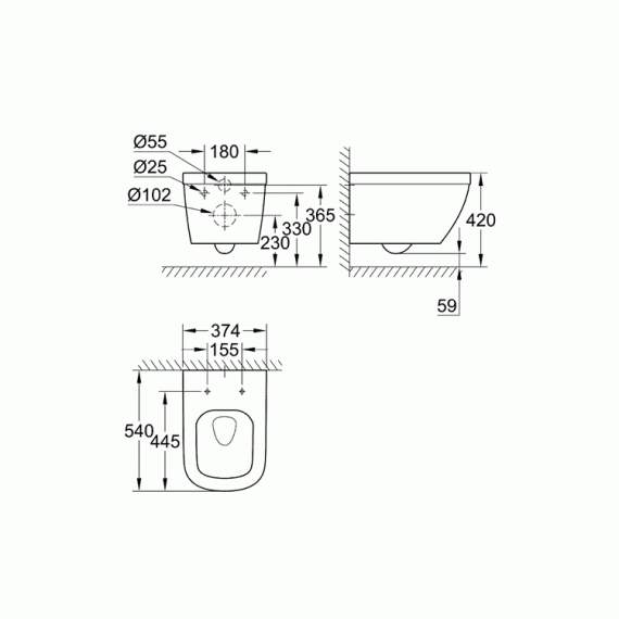 Grohe Euro Wall Hung Wc 1 13m Wc Cistern Pack Sanctuary Bathrooms