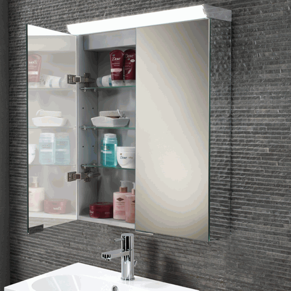 Hib flux led aluminium bathroom cabinet with mirror sides for Bathroom cabinets 40cm wide