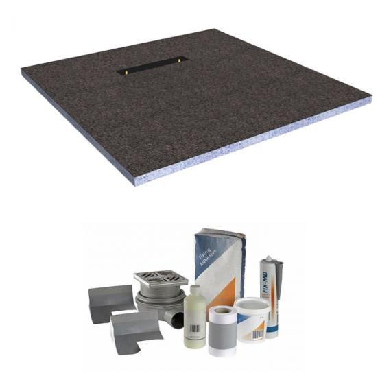 Abacus Elements 1400 x 900mm Level Access 30mm Shower Tray Kit with End Linear Drain